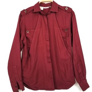 TESS Vintage Unique Button Down Maroon Shirt